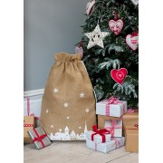 Christmas Hessian Sack with snowflake or winter scene design