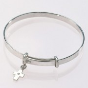 Baby's Bangle with Diamond Cross