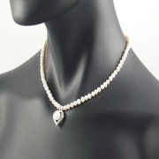Cultured Pearl Heart Necklace