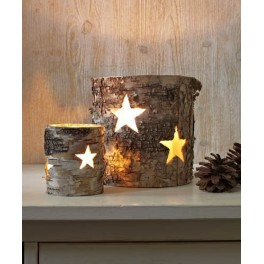 Birch & Glass Candle Holder, Large