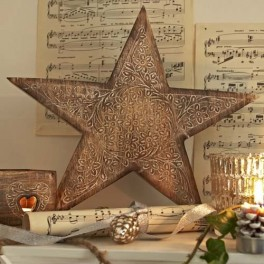 Carved Wooden Star 30cm