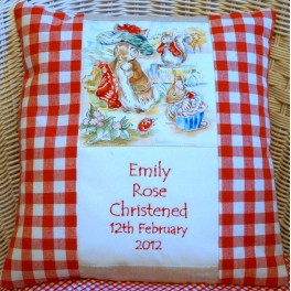 Beatrix Potter Birth and Christening Cushion (Red)
