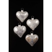 Glass Heart Decorations x 4