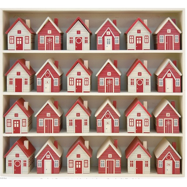 Wooden Advent Calendar Village In Red Aspen And Brown