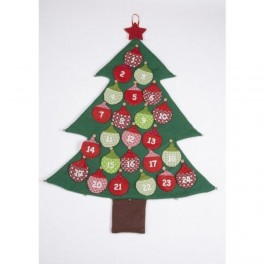 Fabric advent tree with baubles
