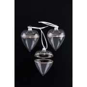 Opening Glass Heart Decorations x 3