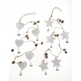 Woodland cone garland hearts or stars with bells