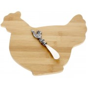 Bamboo Chopping Board with spreader - hen