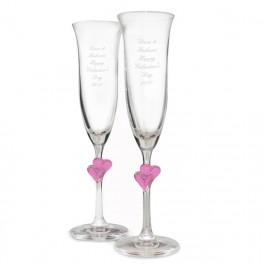 Personalised Heart Stem Flute Glasses