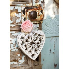 Filigree Wooden Heart - Hanging
