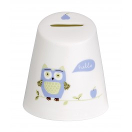 Christening Bone China Money Box - Owl