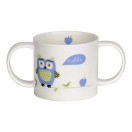 Christening Two Handle Mug - Owls