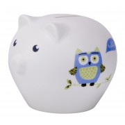 China Christening Piggy Bank with Owls