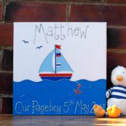 Personalised Canvas, Sailing Boat, Small