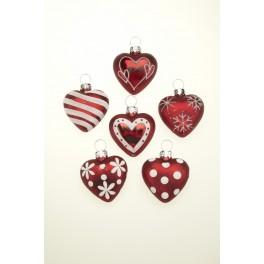 Red Glass Mini Heart Decorations x 6