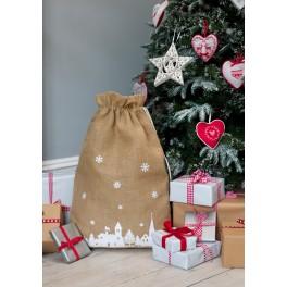 Christmas Hessian Sack with snowflake or winter scene design
