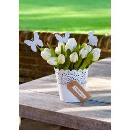 White Filigree Flower Pot
