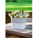 Oval White Filigree Flower Pot