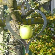 Aged Metal Heart Bird Feeder