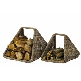 Contemporary Rattan Log Basket Set
